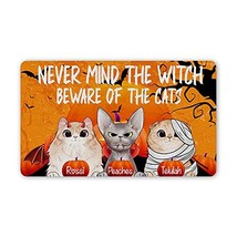 Personalized Halloween Doormat Never Mind The Witch Beware of The Cats C... - $34.60