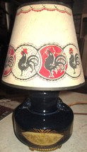 Glass Table Lamp-Blue & Gold w/Flowers ROOSTER Lamp Shade RURAL WORKING ... - $6.79