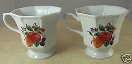 "2 Hallmark Glass Coffee Cups White with Fruit Decor 3.75"" Peach Cherries Pear - $9.50"