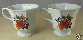 "2 Hallmark Glass Coffee Cups White with Fruit Decor 3.75"" Peach Cherries Pear - $8.27"