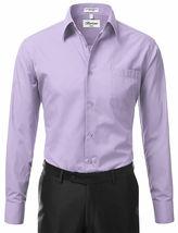 Berlioni Italy Men's Premium Classic Barrel Cuff Solid Lavender Dress Shirt image 4