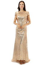 Women's Champagne Sequins Long Prom Dress Short Sleeve Evening Dress Par... - $115.99