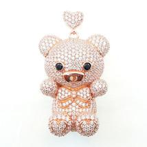 ZirconZ Custom-Pave Signity CZ Art Hug Me Sterling Silver Teddy Bear Nec... - $179.99