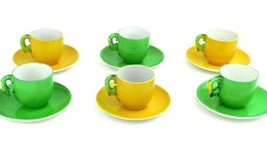 Six.1930s Art Deco Okwan China Parrot Handled Demitasse Cups Saucers Japan - $37.36