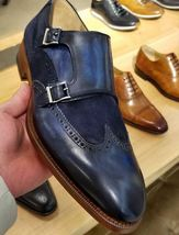 Handmade Men's Blue Leather & Suede Double Monk Strap Dress/Formal Shoes image 1