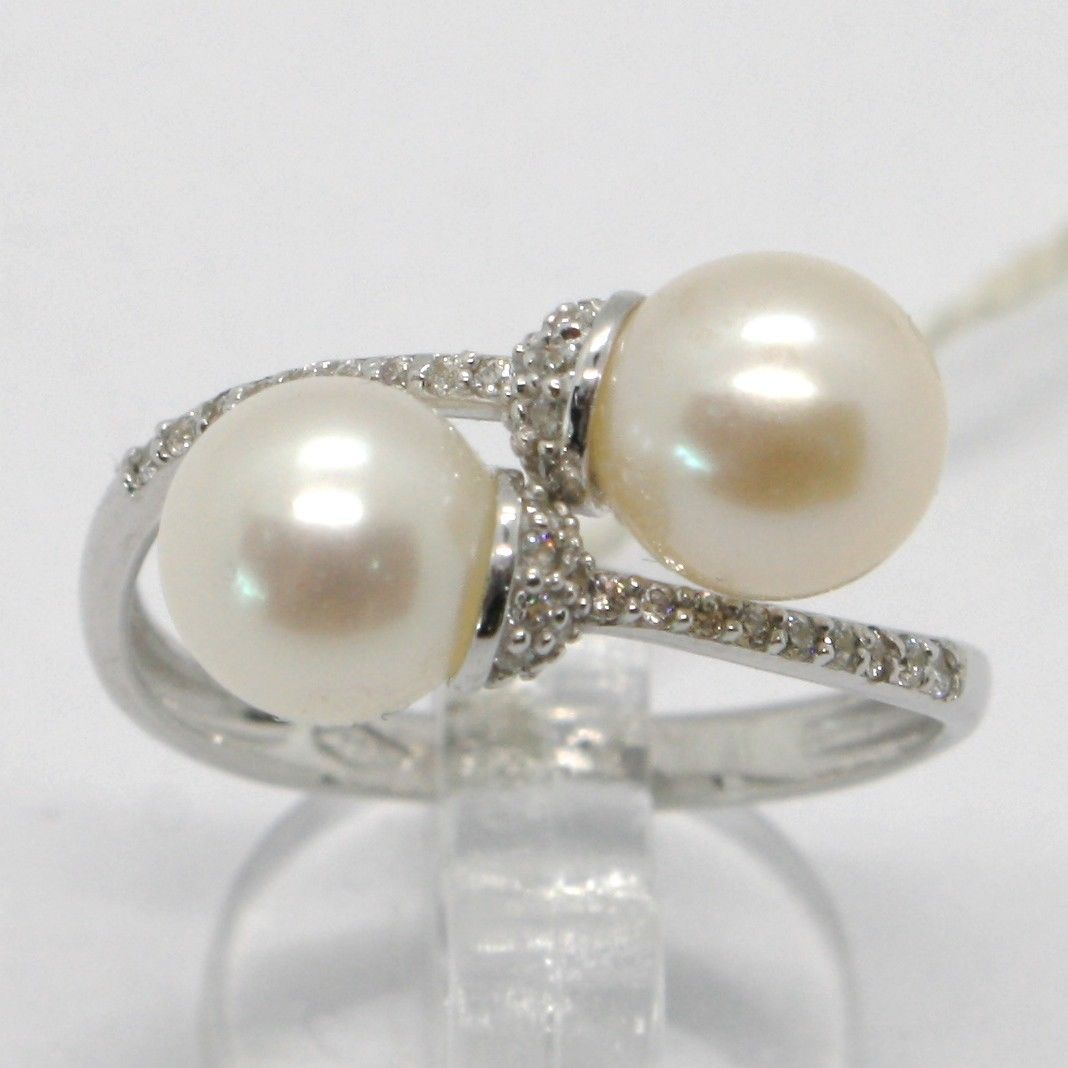 18K WHITE GOLD BAND PEARL ZIRCONIA RING DOUBLE CROSSED, contrariè, MADE IN ITALY