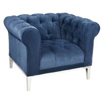 Italian Chesterfield Chair Restoration Hardware Modern Replica Navy Blue Velvet - $2,194.83