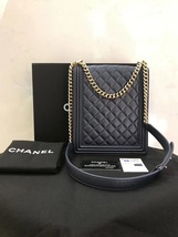 AUTHENTIC CHANEL 2019 LE BOY NAVY QUILTED LAMBSKIN FLAP BAG Gold HE image 2