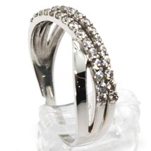 SOLID 18K WHITE GOLD BAND RING, CUBIC ZIRCONIA, DOUBLE WAVE, ONDULATE, BRAID image 2