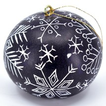 Handcrafted Carved Gourd Art Winter Snowflake Ornament Made in Peru image 2