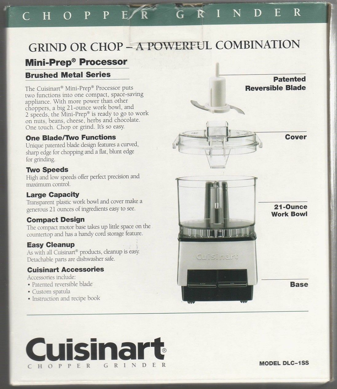 Cuisinart DLC-1SS Mini-Prep Processor Brushed Stainless Steel NEW IN SEALED BOX