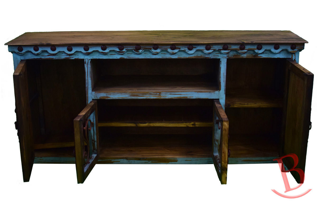Turquoise Jr Durango TV Stand Console With Iron Work Real Wood Rustic Western