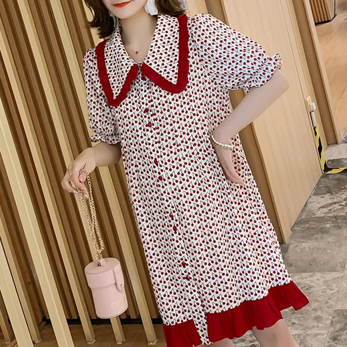 Maternity Dress Cherry Printed Turn Down Collar Short Sleeve Loose Dress image 2