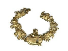 Vintage Signed AJC Goldtone Noah Ark Bracelet WB3030 - $2.99