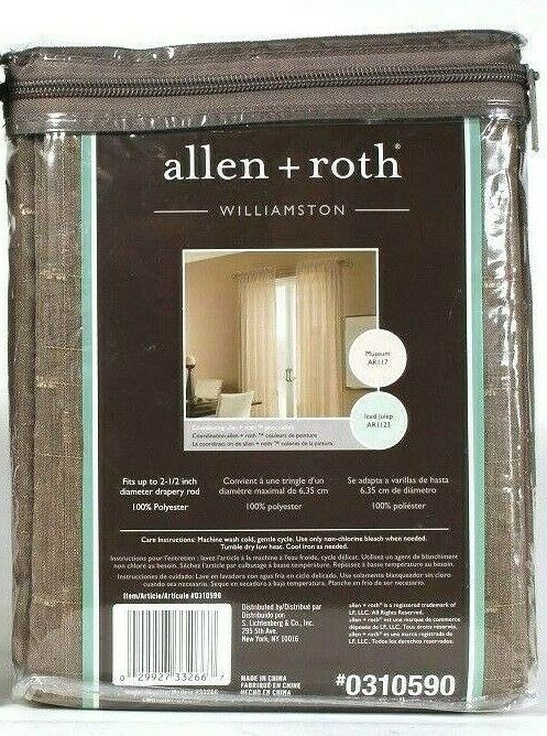 "1 Packages Allen & Roth 52"" X 84"" Williamston 0310590 Linen Rod Pocket Panel - $22.99"