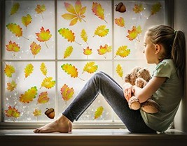 PUGED Autumn Fall Leaves Window Clings Reusable and Removable No Glue Static Dec - $8.26