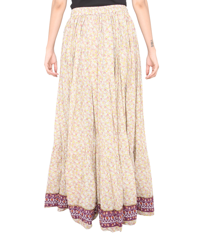 Pink flower jaipuri skirt  d