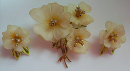 Vintage Coro Gold-tone Enamel Floral/Rhinestone Brooch & Matching Clip E... - $44.55