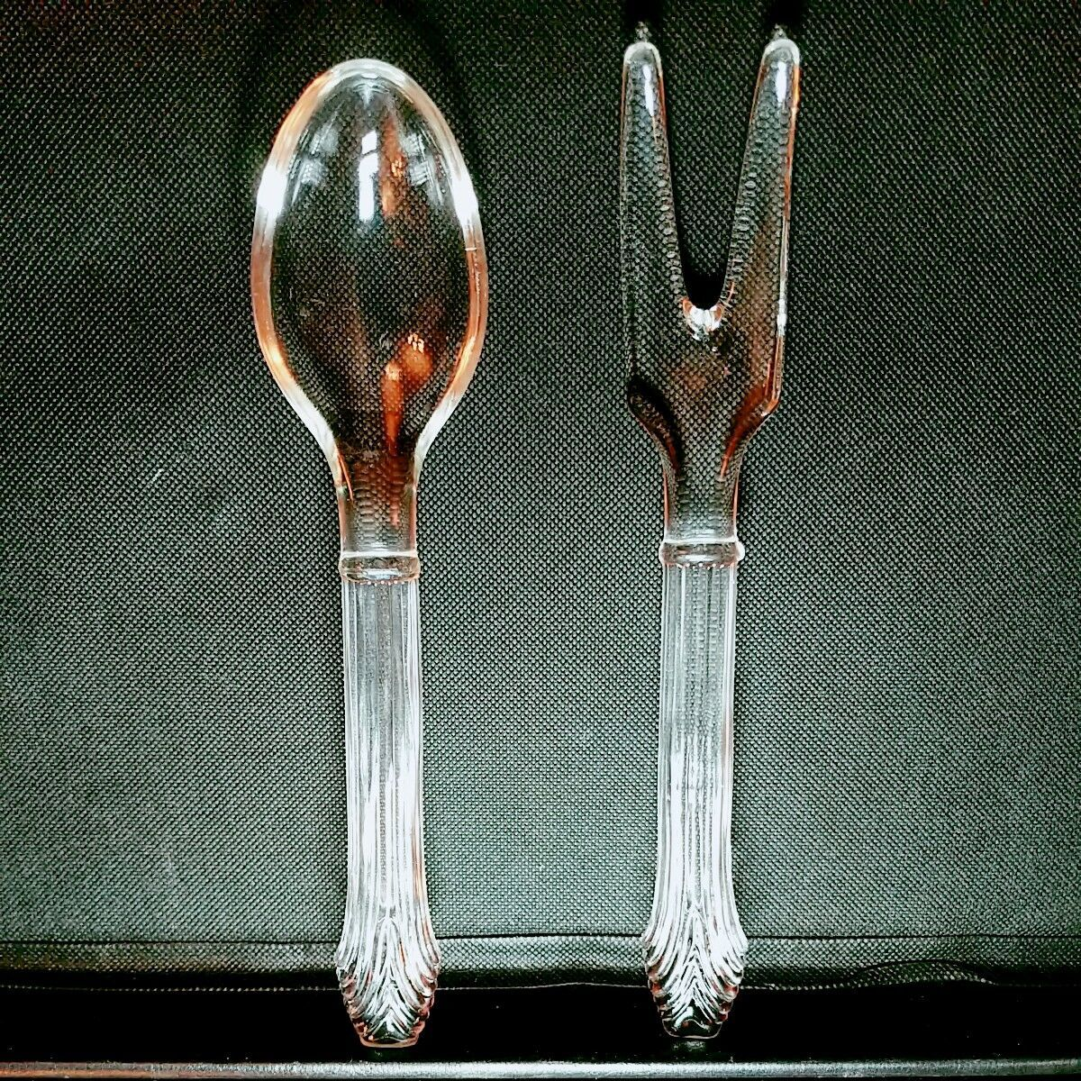 VINTAGE IMPERIAL GLASS SALAD FORK & SPOON SET - Excellent Condition