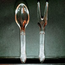 VINTAGE IMPERIAL GLASS SALAD FORK & SPOON SET - Excellent Condition - $9.99