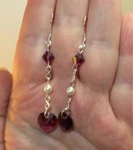 made w Purple SWAROVSKI Crystal Heart w Purple Bi & Cream Pearl Earrings HM - $12.87