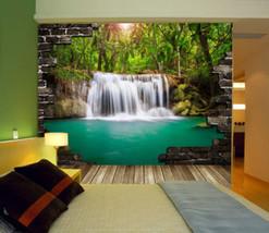 3D Wasserfall, grüne Pools Fototapeten Wandbild Fototapete BildTapete Familie DE - $52.21+
