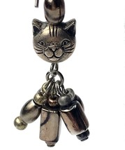 Vintage Silver Tone Cat Kitty Kitten Head Metallic Beaded Dangle Earring... - $14.26