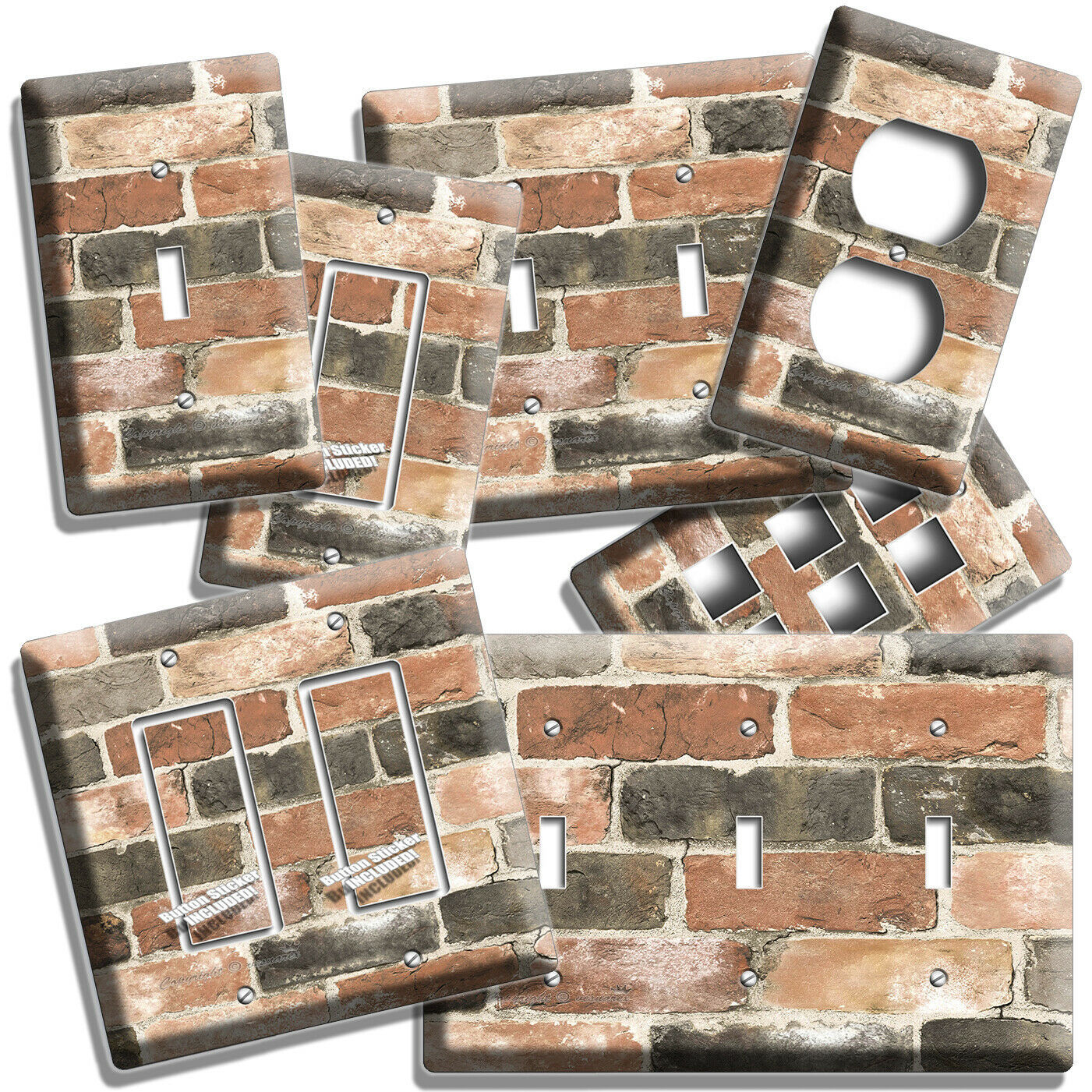 RUSTIC RECLAIMED WORN OUT BRICK WALL LIGHT SWITCH OUTLET PLAT ROOM HOME HD DECOR