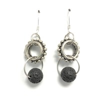 Essential Oil Diffuser Earrings Lava Stone Aromatherapy - $17.42