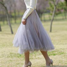 Sage Green Puffy Tulle Skirt Outfit High Waisted Midi Tulle Skirt Holiday Outfit image 8