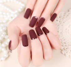 Matte burgundy & metallic full coverage 24 piece glue on nails set long ... - $9.99