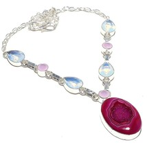 "Pink Geode Druzy, Milky Opal Jewelry Necklace 18"" RN29 - $9.99"