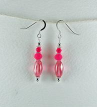Dangle Drop Earrings Handmade Small Pink Glass Bead Sterling Earhooks - $8.00