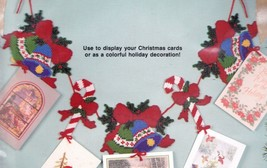 Bucilla Bell & Candy Cane Christmas Card Holder Garland Plastic Canvas Kit 61132 - $27.95