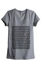 Thread Tank XOXO Love Heart Women's Relaxed V-Neck T-Shirt Tee Heather Grey - $24.99+