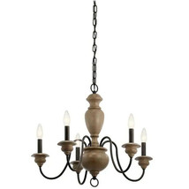 Kichler 5 Light Chandelier Olde Bronze and Wood Tone Farmhouse Beulah 82270 - $118.99