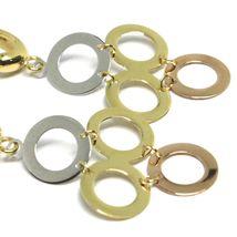 Pendientes Colgantes Oro Amarillo, Rosa y Blanco 750 18K, Círculos Ingeniado, image 3