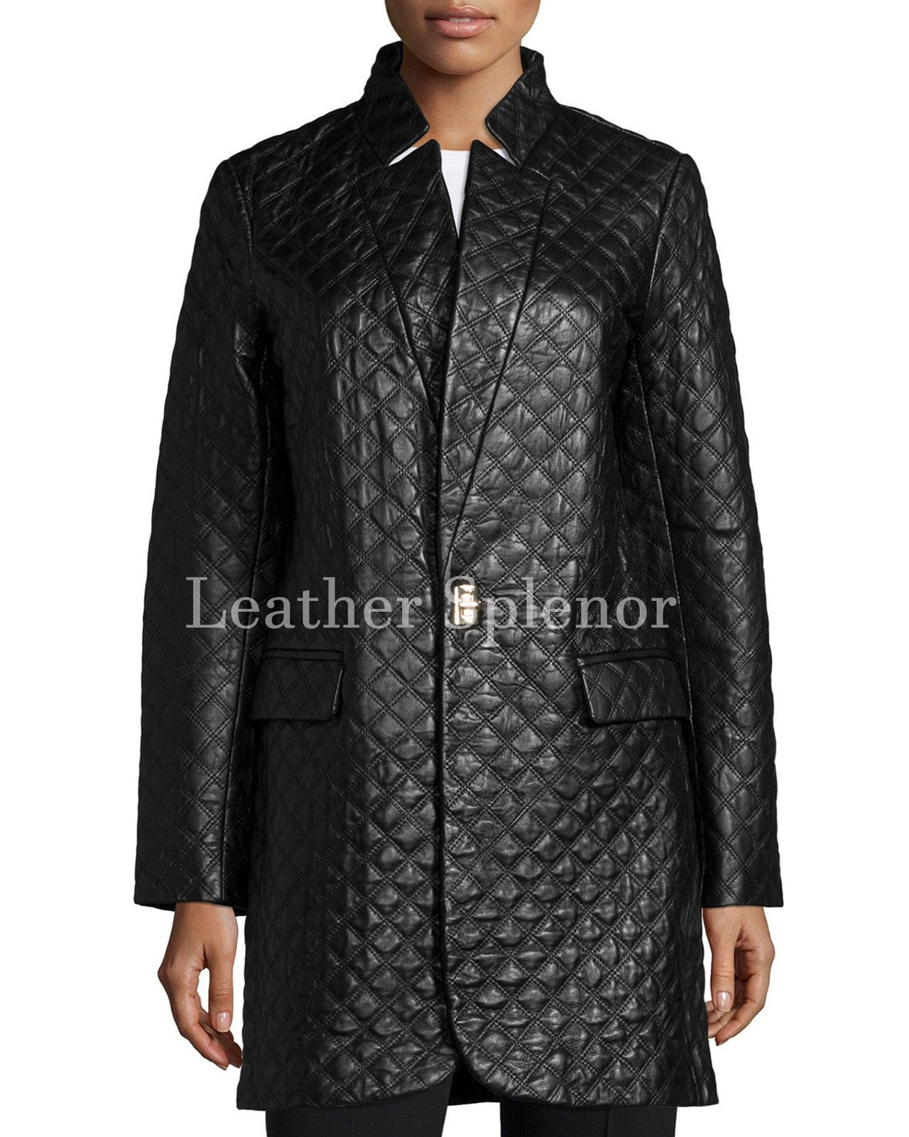 Quilted Unique Women Leather Coat