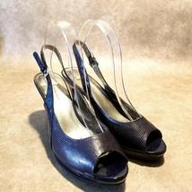 Bandolino Womens Malmo Sz 9.5 M Blue Peep Toe Slingback Pumps - $24.99