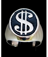 Oval shaped Heavy Sterling silver symbol ring US Dollar $ on Black ename... - $149.00+
