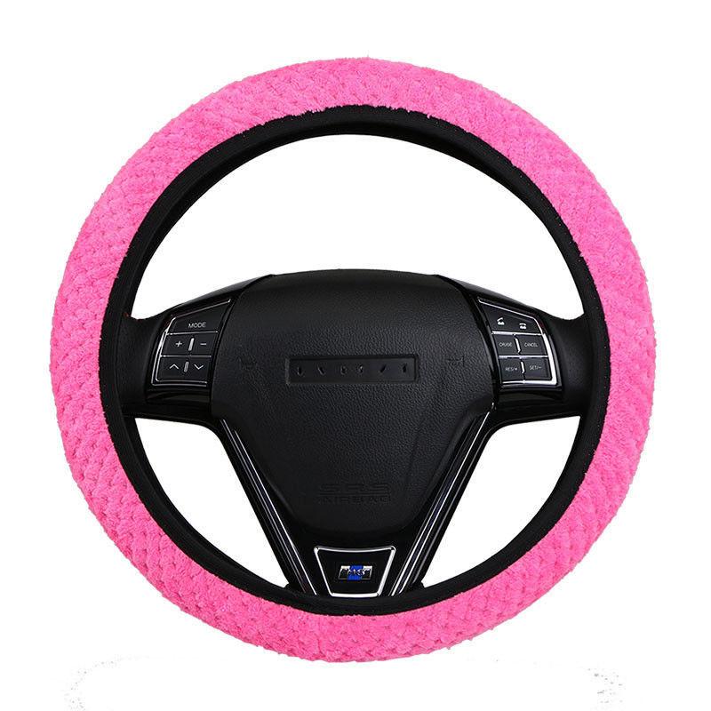 Pearl Velvet Winter Car Rose Red Steering Wheel Cover Soft Warm Plush Universal