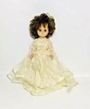Vintage Uneeda Bride Doll Brown Hair Blue Eyes Lace Dress - $24.75