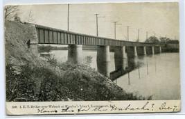 LUT Bridge Wabash River Kienley's Island Logansport Indiana 1909 postcard - $6.44