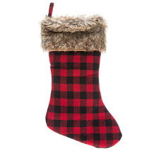 """Buffalo Check Stocking With Brown Faux Fur Cuff 18"""" - $8.00"""