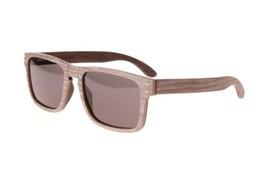 New Premium Wooden Polarized Leaf Grain Sunglasses 55mm with Grey Lenses - $49.45