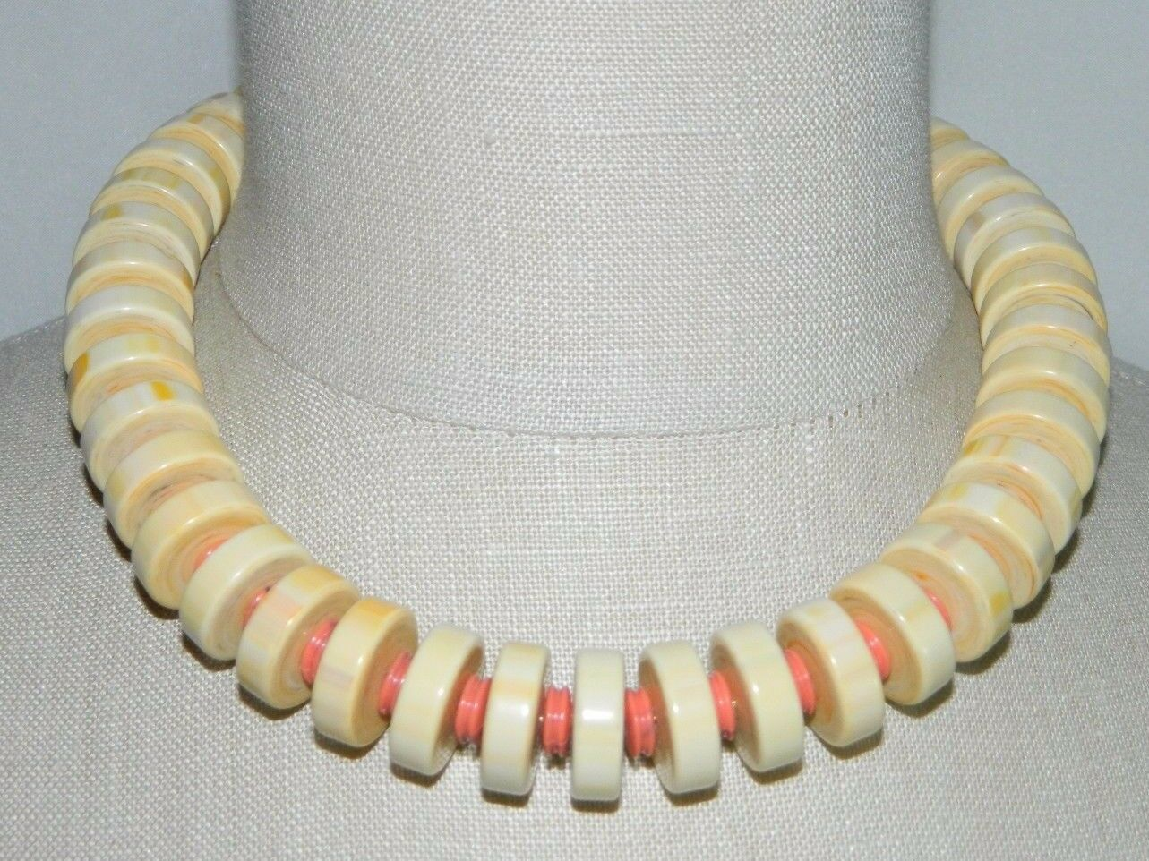Primary image for VTG NOS MONET PUEBLO Gold Tone Cream Orange Bead Choker Necklace with Tags