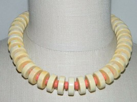 VTG NOS MONET PUEBLO Gold Tone Cream Orange Bead Choker Necklace with Tags - $49.50