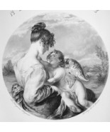 YOUNG MAIDEN in Love Cherub Cupid Playmate - 1875 SUPERB Print Engraving - $30.60