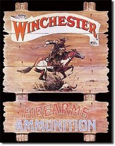 Winchester Firearms Ammunition Horse Metal Sign Tin New Vintage Style US... - $10.29