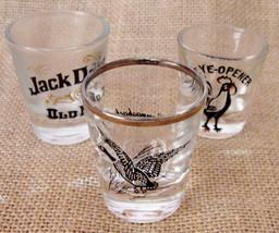 Three Bar Shot Glasses Canvasback Duck Jack Daniels No. 7 An Eye Opener ... - $24.99